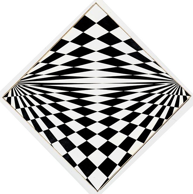 Mario Ballocco - Attività bipolare, 1964, Olio su tela, 100 × 100 cm (diagonale 140 cm) - Archivio Mario Ballocco, Milano