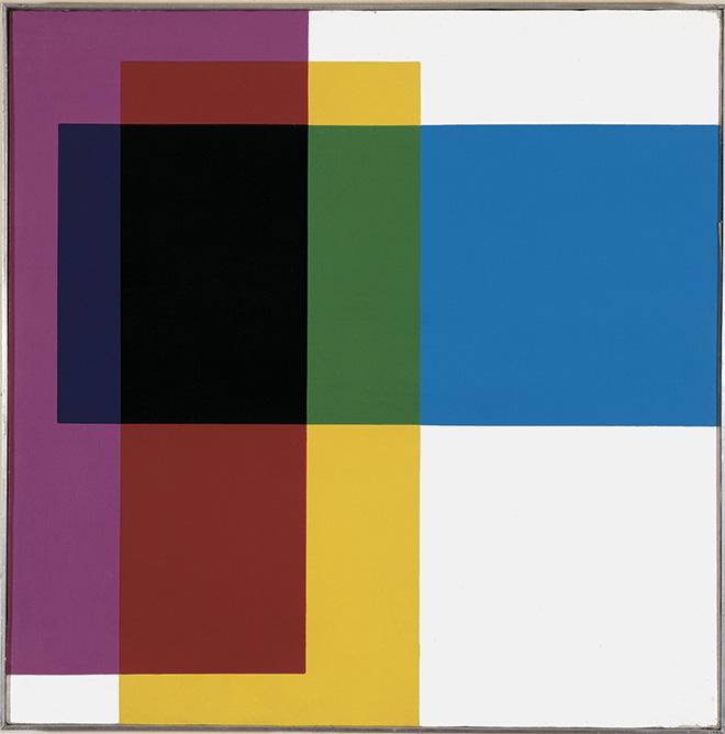 Mario Ballocco - Compenetrazione tricromatica, 1970, Acrilico su tela, 50 × 50 cm - Archivio Mario Ballocco, Milano