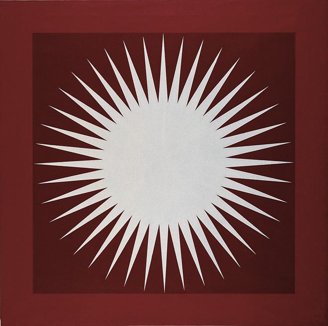 Mario Ballocco - Pulsazione di luminosità, 1969/1982, Acrilico liquitex su tela, 120 × 120 cm - Archivio Mario Ballocco, Milano
