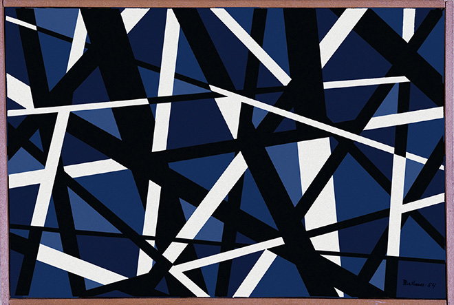 Mario Ballocco - Reticolo geometrico bleu nero e bianco, 1954, Olio su tela, 20 × 30 cm - Archivio Mario Ballocco, Milano