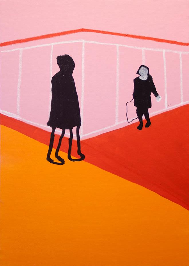 Stefania Ruggiero, Senza titolo, 2016, spray, acrilico, pastello a olio e marker su tela, 70x50-cm