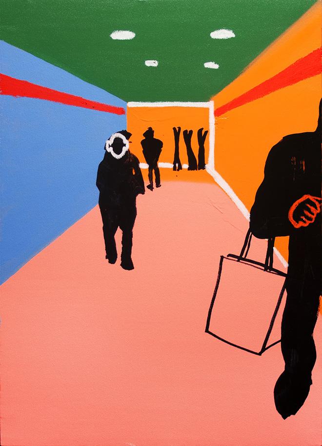 Stefania Ruggiero, Sottopasso, 2016, spray, acrilico, pastello a olio e marker su tela, 50x70cm