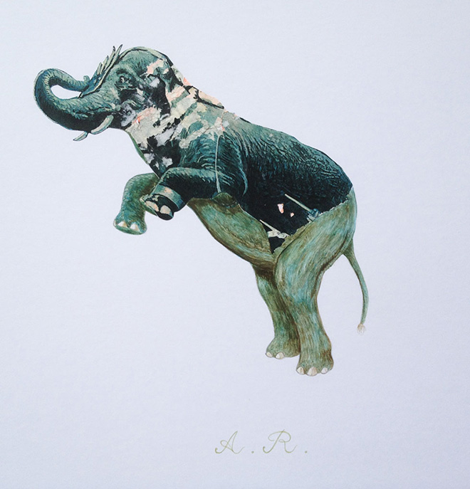 Guido Airoldi - (elefante), animali recuperati, collage e tempera all'uovo su carta