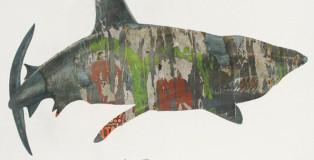 Guido Airoldi - Via Fratelli Bandiera 1, Marghera (squalo), collage e tempera all'uovo su carta
