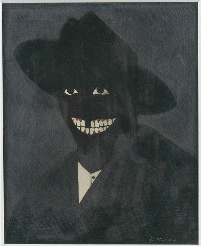 Kerry James Marshall - A Portrait of the Artist as a Shadow of His Former Self, 1980. Egg tempera on paper; 8 x 6 ½ in. (20.3 x 16.5 cm). Steven and Deborah Lebowitz Photo: Matthew Fried © MCA Chicago