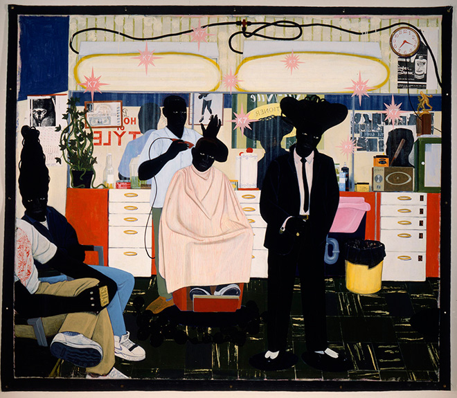 Kerry James Marshall - De Style,1993. Acrylic and collage on canvas; 104 x 122 in. (264.2 x 309.9 cm). Los Angeles County Museum of Art, Los Angeles, purchased with funds provided by Ruth and Jacob Bloom, AC1993.76.1 Digital image © 2015 Museum Associates/LACMA. Licensed by Art Resource, New York