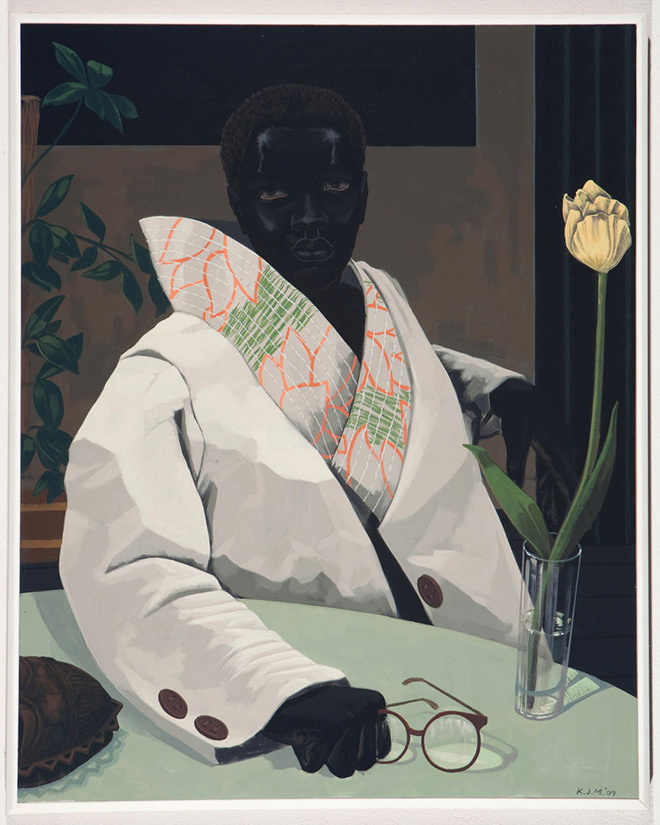 Kerry James Marshall - Portrait of a Curator (In Memory of Beryl Wright), 2009. Acrylic on VC; 30 7/8 x 24 7/8 x 1 7/8 in. (78.4 x 63.1 x 4.8 cm). Courtesy of the artist and Jack Shainman Gallery, New York, © Kerry James Marshall