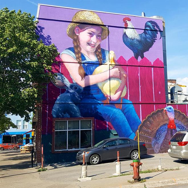 Natalia Rak - Mural Festival 2016, Montreal. photo credit: Fabien Bouchard