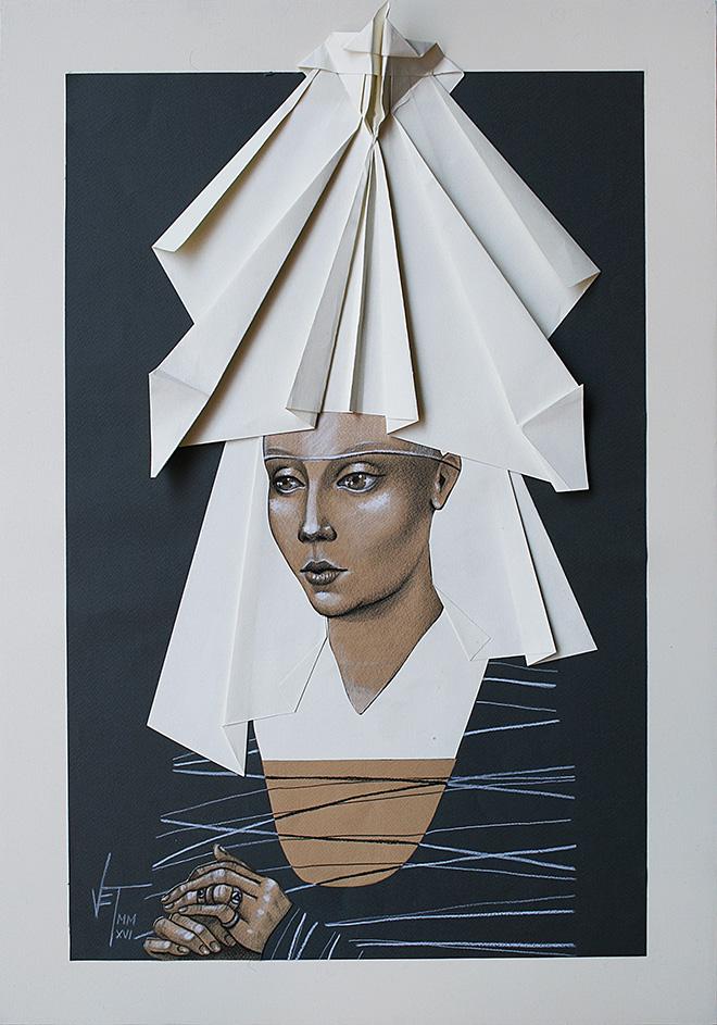 Vania Elettra Tam - Origami Clitoridei, falena, 2016, 70x50 cm. Tecnica mista su carta incollata su tela