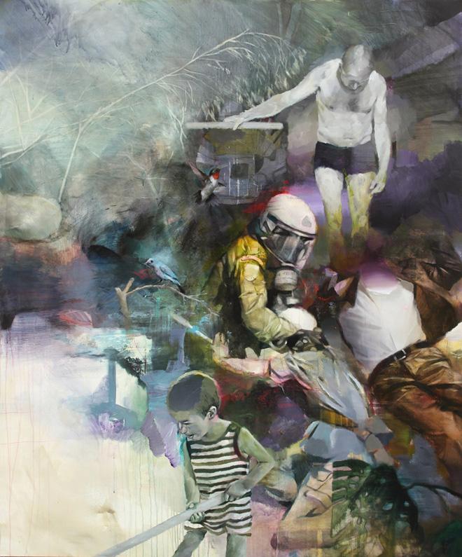 Pascal Vilcollet - Puppet Muster, acrilico e olio su tela, 195x165 cm