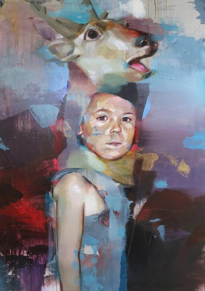 Pascal Vilcollet - Totem, Teddy Box, acrilico e olio su tela, 160x114 cm