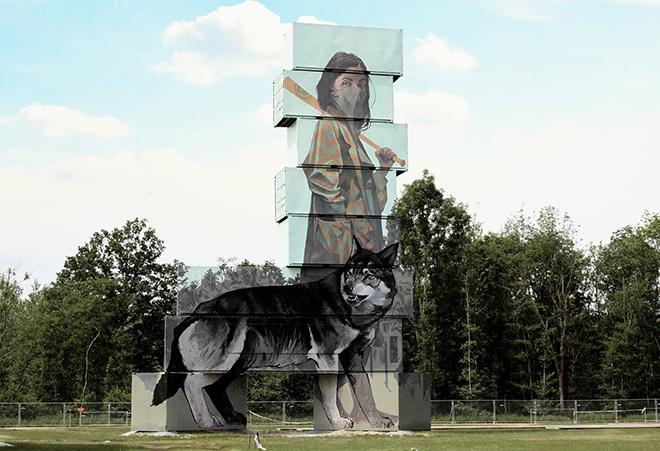 Bezt Etam - Wolves, North West Walls, 2016 - Container graffiti