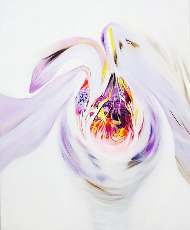 Isabella Nazzarri - Opera al bianco 3, olio su tela, 100x120, 2016