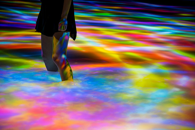 teamLab - Drawing on the Water Surface, 2016. Interactive Digital Installation, Created by the Dance of Koi and People - Infinity