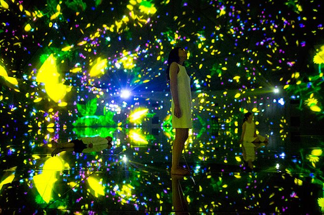 teamLab - Floating in the Falling Universe of Flowers, 2016.  Interactive Digital installation