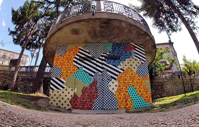 UNO street art - Camouflage 87054, murale a Rogliano (Cosenza), per Gulia Urbana Festival 2016