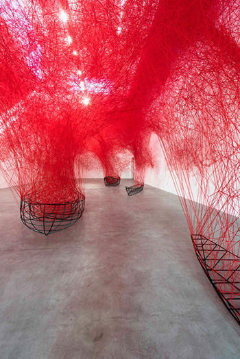 Chiharu Shiota - Uncertain Journey, 2016, Installation view, Courtesy the artist and Blain|Southern, Photo: Christian Glaeser