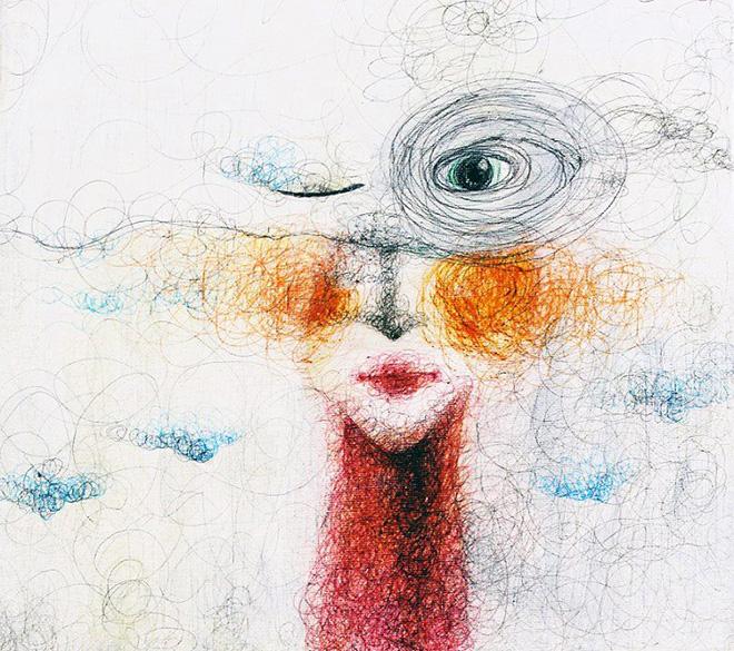 Keziat - Ego la bambina interiore (particolare), 2015, biro su tela.