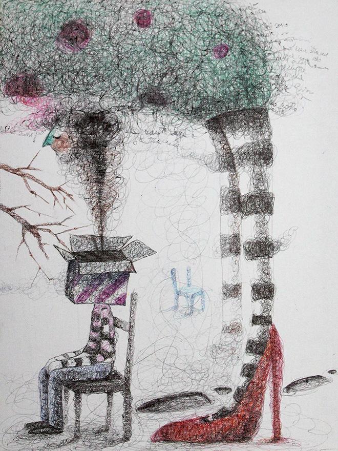 Keziat - I Sogni fanno volare e fanno rumore (particolare), 2014, biro su tela