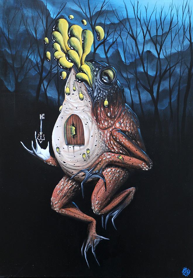 Veks Van Hillik - Toad Guard, 2014. Acrylic on canvas, 31x50 cm