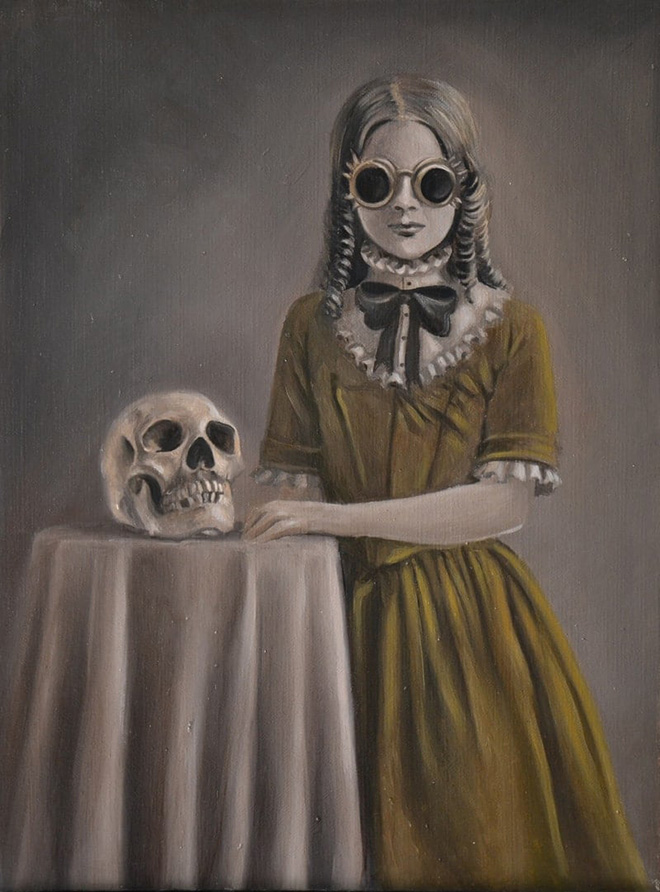 Martina D'Anastasio (Sine Senze) - The Early Education of Miss Wilde. Oil on canvas, 30x40 cm, 2015