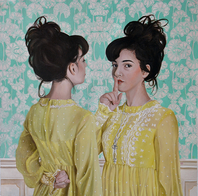 Martina D'Anastasio (Sine Senze) - Got A Secret Can You Keep it, The World behind, 2015. Oil on canvas, 50x50 cm, 2015
