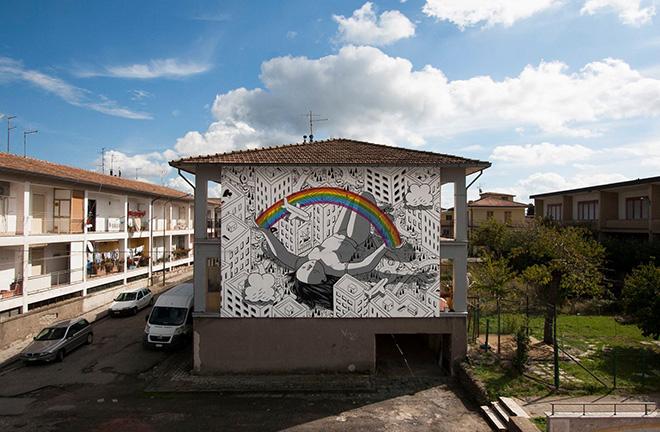 Millo - Blind, Bonito (AV), murale per Impronte Art Festival 2016