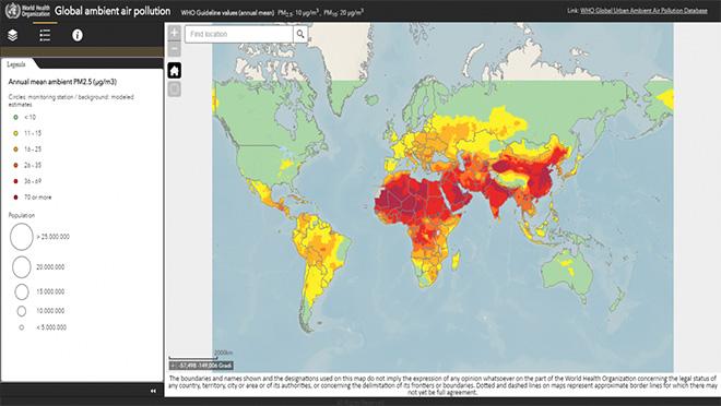 Livelli di inquinamento dell'aria. Fonte: Organizzazione mondiale della sanità (Oms)