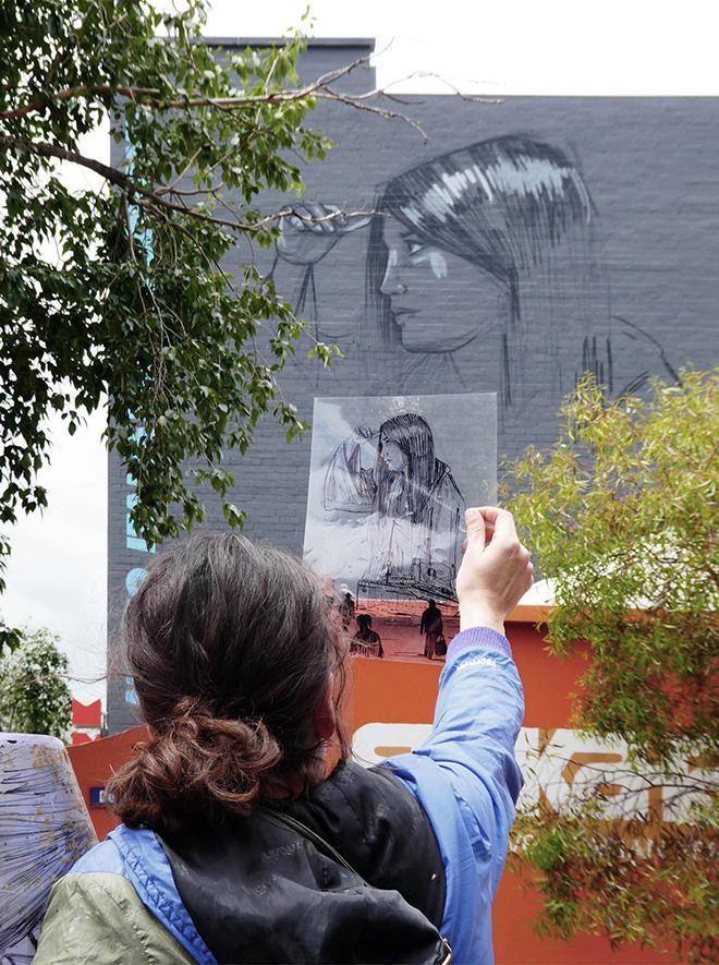Alice Pasquini - Per L'Australia / Passenger, Museo italiano dell'immigrazione a Melbourne. photo credit: Lou Chamberlin