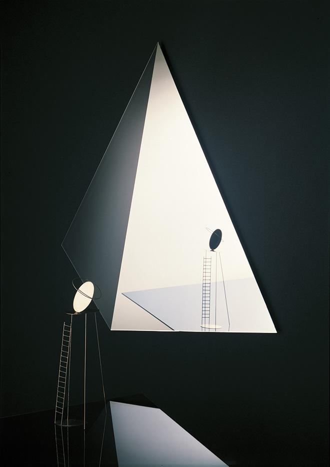 Aldo Ballo - Specchio Cosmos disegnato da Nanda Vigo per Glas con scultura Fausto Melotti, 1975, 50x70 cm. Stampa Hahnemühle Photo Rag Baryta 315 100% cotone
