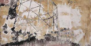 Andrea Capanna - KC1-ZL25 Gazometro 2. Sabbia, Cemento, Intonaco, Acrilico su legno - cm 132x92