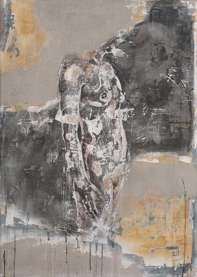 Andrea Capanna - KC1-ZL25 LowProfile Donna. Sabbia, Cemento, Intonaco, Acrilico su legno - cm 90x125