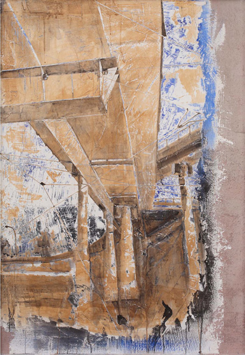 Andrea Capanna - KC1-ZL25 Tangest 5. Sabbia, Cemento, Intonaco, Acrilico su legno - cm 132x92