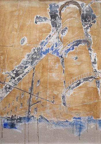Andrea Capanna - KC1-ZL25 Torre Stazione Termini. Sabbia, Cemento, Intonaco, Acrilico su legno - cm 128x93
