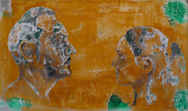Andrea Capanna - KC1-ZL25 Vincenzo - Angelica. Sabbia, Cemento, Intonaco, Acrilico su legno
