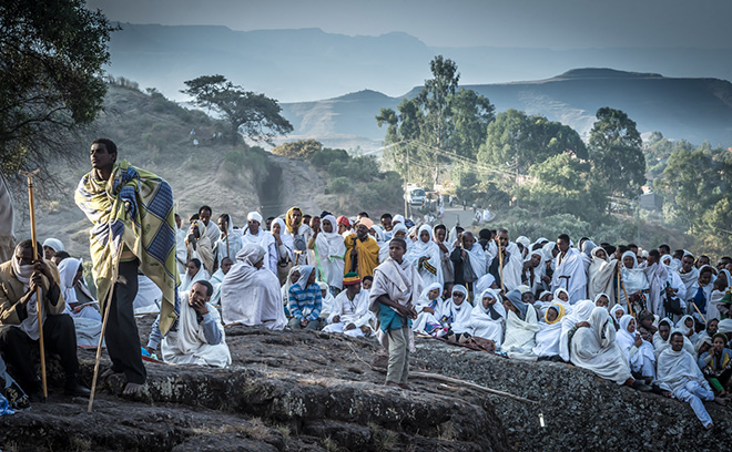 Christopher Roche - Ethiopia, Pilgrims at dawn, Christmas day, Lalibela