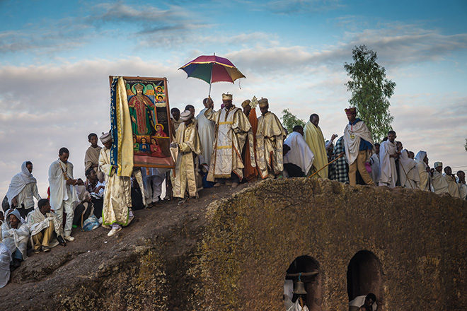 Christopher Roche - Ethiopia, Priests at dawn, Christmas day, Lalibela