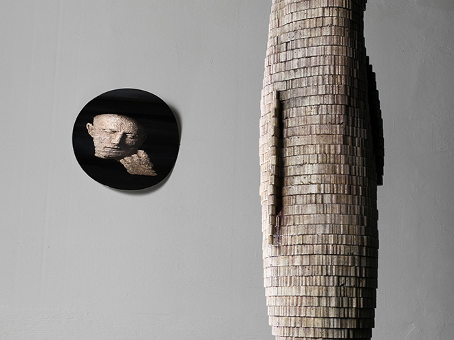 Marc Didou - Anamorfosi 1, 2010, dettaglio, cemento rosa, cm 200x50