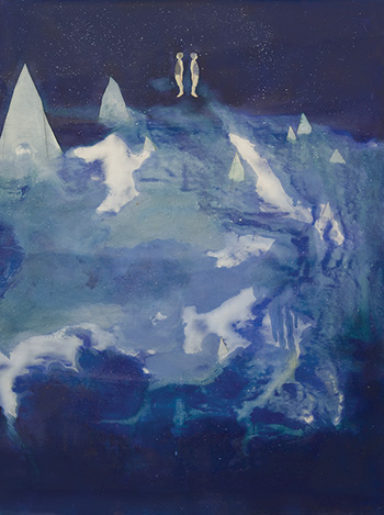 Elisa Bertaglia - Out of the Blue, 2016, olio e pastelli su carta, 102x76 cm