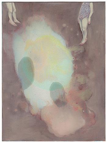 Elisa Bertaglia - Out of the Blue, 2016, olio e pastelli su cartoncino, 24.7x18.2 cm