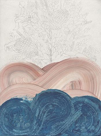 Elisa Bertaglia - Out of the Blue, 2016, olio, carboncino e grafite su carta, 30x23 cm