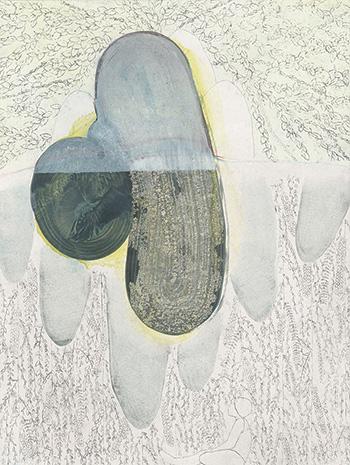 Elisa Bertaglia - Out of the Blue, 2016, olio, pastelli, carboncino e grafite su carta, 30x23 cm