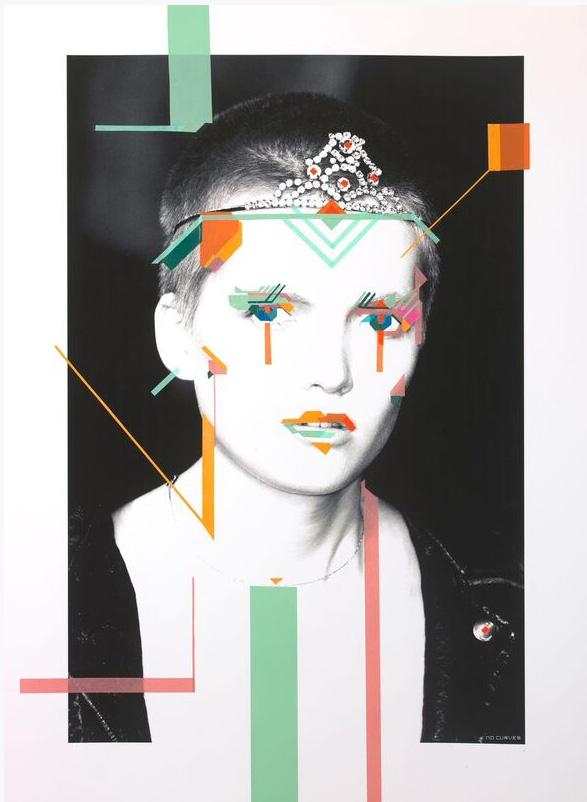 No Curves - Cyber Queen, 2016, nastro adesivo e fotografia su carta cotone 300 gr