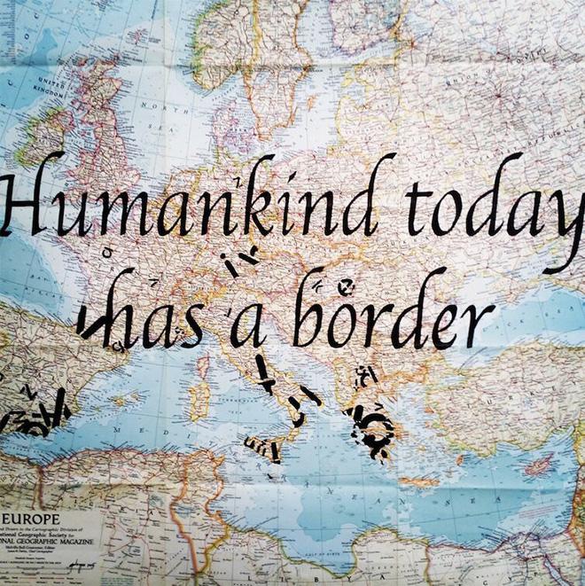 Opiemme - Humankind today has a border, 2015, acrylic, 84 x 73,5 cm