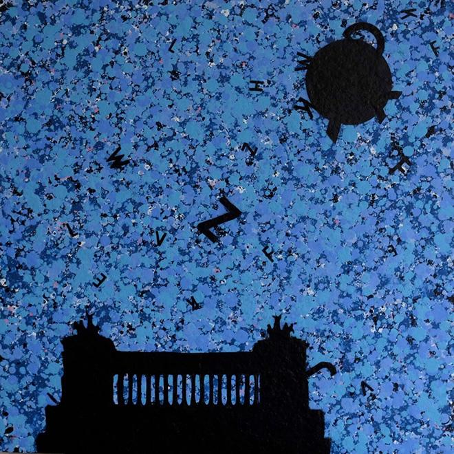Opiemme - Altare, 2016, tempere e spray su tavola, 60 x 60
