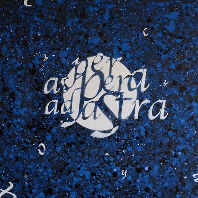 Opiemme - Per aspera ad astra, 2016, tempere e spray su tavola, 60 x 60 cm