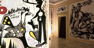 Canemorto e Carlo Zinelli - Carlo giallo su sfondo di tre cani