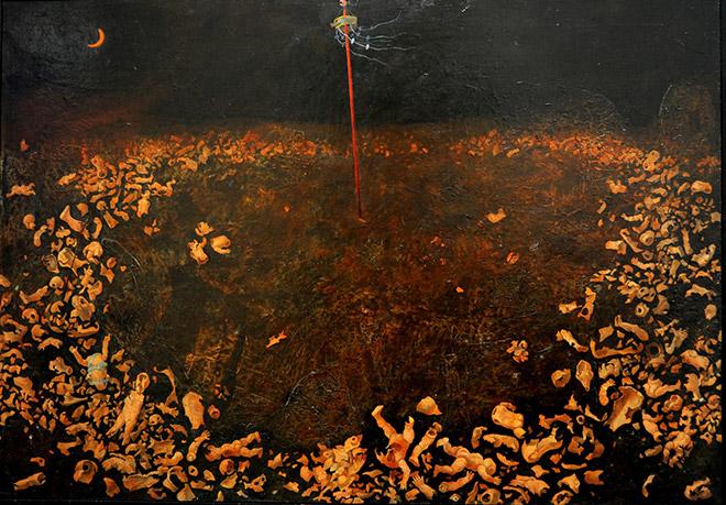 Bruno Canova - La strage degli innocenti 1, 1982-1984, acrilico su tela, cm. 70 x 100.