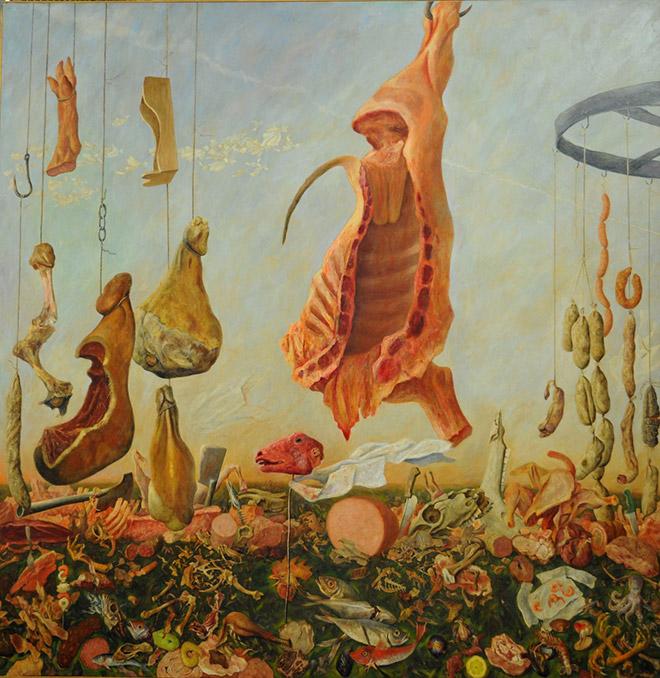 Bruno Canova - La strage degli innocenti 2 (Grande natura morta), 1990, acrilico su tela, cm. 200 x 200.