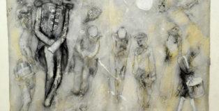 Bruno Canova - Tavola dal libro L'arte della guerra, 1969-1972, grafite e tecnica mista su carta applicata su lastre di zinco, cm. 35 x 50.